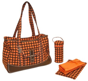 Heavenly Dots Chocolate & Orange - Weekender Diaper Bag by Kalencom