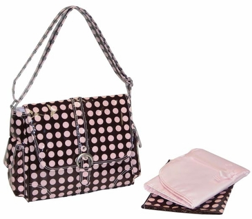 Heavenly Dots Chocolate Pink - Midi Coated Buckle Diaper Bag by Kalencom