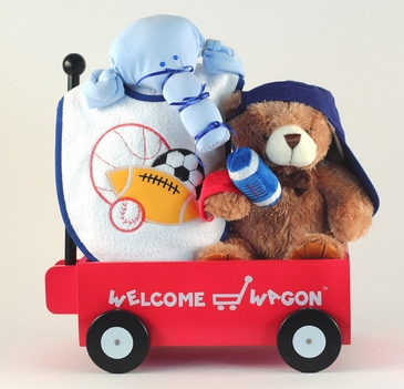 """Hello World!"" Sports Baby Gift Basket"