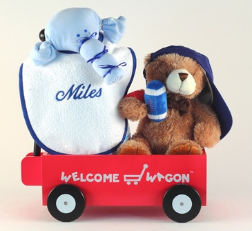"""Hello World!"" Sports Baby Gift Basket  (Personalized)"