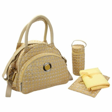 Herringbone Gold - Bellisimo Diaper Bag by Kalencom