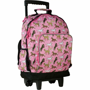 Horses in Pink Kids Rolling Backpack