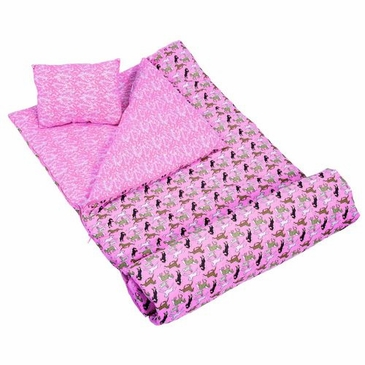 Horses in Pink Kids Sleeping Bag