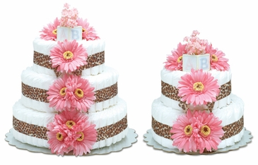 Hot Pink Daisies with Leopard Trim - Safari Baby Diaper Cake