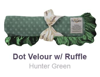 Hunter Green Dot Velour with Ruffle Trim Blanket by My Blankee