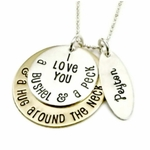 """I Love You A Bushel and A Peck and A Hug Around The Neck Necklace"" with Children's Names"