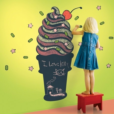 Ice Cream Cone Chalkboard Peel & Place Wall Art