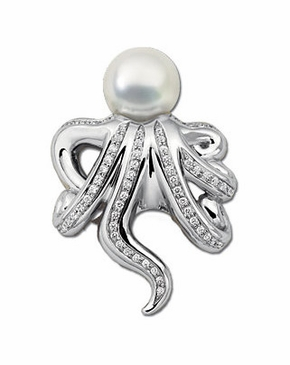 Imperial White Octopus Pearl and Diamond Brooch