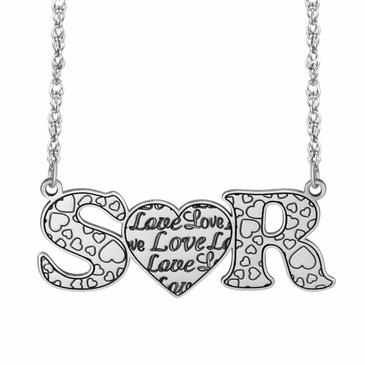 Initials Love Heart Necklace