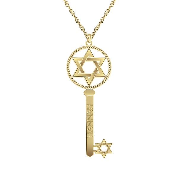Judaica star of david personalized key necklace bliss living aloadofball