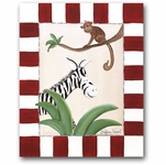 Jungle Junior - Zebra & Monkey Canvas Wall Art