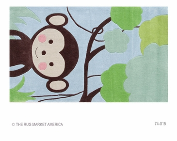 Jungle Mania Blue/Brown/Green Hook Rug