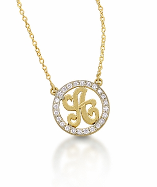 Kacey K 14k Gold and Diamond Initial Necklace