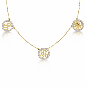 Kacey K 14k Gold and Diamond Necklace with 3 Initials