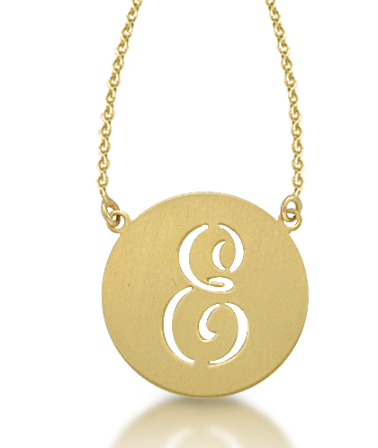 Kacey k 14k gold circle cutout initial necklace bliss living mozeypictures Gallery