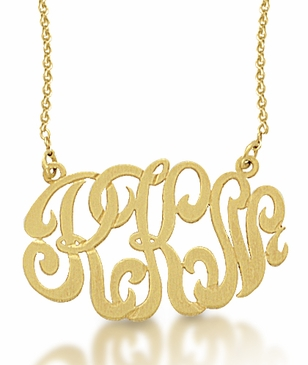 Kacey K 14k Gold Monogram Oval Charm Necklace