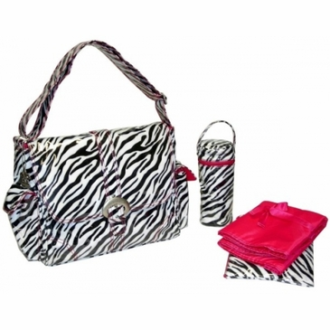 Kalencom A Step Above Diaper Bag - Zebra - Black / White
