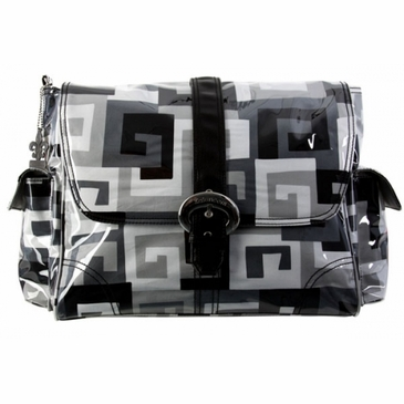 Kalencom Coated Buckle Diaper Bag - Maze Black/White
