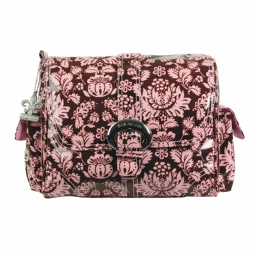 Kalencom Midi Coated Buckle Diaper Bag - Toile Chocolate & Pink
