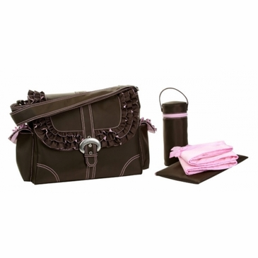 Kalencom Miss Prissy Diaper Bag - Chocolate/Pink