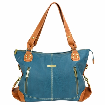 Kate Dark Teal/Saddle Diaper Bag by Timi & Leslie