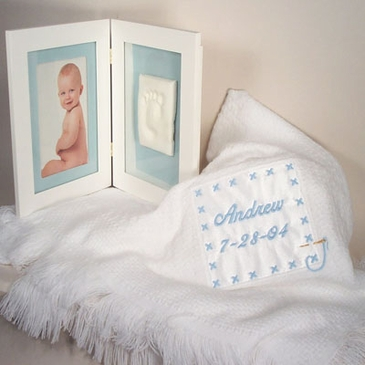 Keepsake Blanket with Picture & Foot Print Frame Boy  (Personalized)