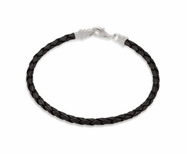 Kera™ 3.0 mm Black Braided Leather Bracelet