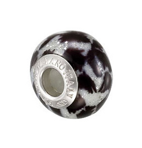 Kera™ Bella Viaggio Black & White Animal Stripe Glass Bead