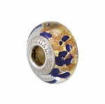 Kera™ Bella Viaggio Blue Glass Bead with Aventurina & Gold Foil