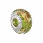 Kera™ Bella Viaggio Green Glass Bead with Aventurina & Gold Foil