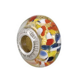 Kera™ Bella Viaggio Multi-Color Glass Bead with Aventurina & Gold Foil
