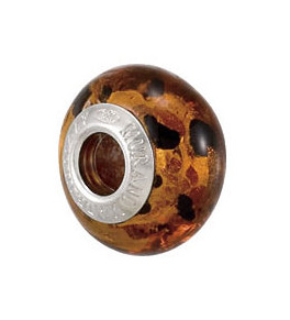 Kera™ Bella Viaggio Orange & Black Leopard Glass Bead