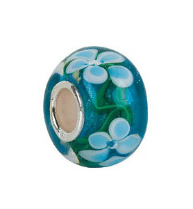 Kera™ Blue Turquoise Flower Glass Bead