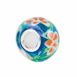 Kera™ Blue with Orange Flower Glass Bead