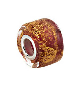 Kera™ Gold & Ruby Murano Glass Wheel Bead