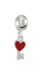 Kera™ Heart Shaped Key with Red Crystals Dangle Bead