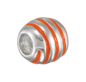 Kera™ Orange Striped Enamel Bead