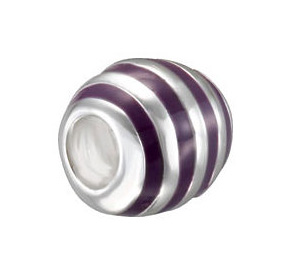 Kera™ Purple Enamel Striped Bead