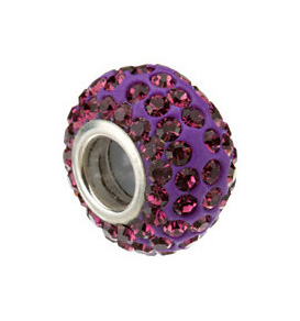 Kera™ Roundel Bead with Pavé Purple Crystals