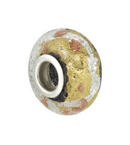 Kera™ Silver, Black & Gold Murano Glass Bead
