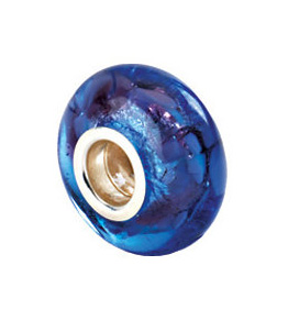 Kera™ Silver, Black & Purple Murano Glass Bead
