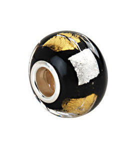 Kera™ Silver, Gold & Black Murano Glass Bead