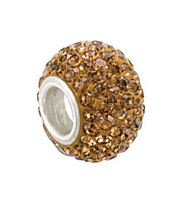Kera™ Smoky Topaz Colored Crystal Pave' Bead