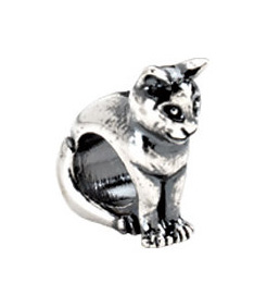 Kera™ Sterling Silver Cat Slider Bead