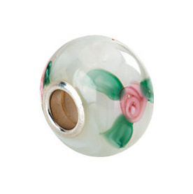 Kera™ White Murano Glass Roses Bead