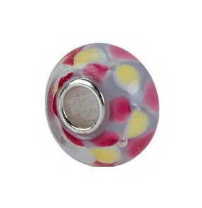 Kera™ White with Yellow & Pink Flower Glass Bead