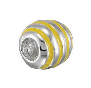 Kera™ Yellow Striped Enamel Bead