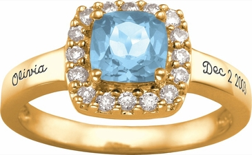 Large Cushion Cut Birthstone Gold Ring - with Genuine Stones
