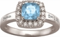 Large Cushion Cut Birthstone Gold Ring - with Genuine Stones - click to Enlarge
