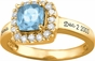 Large Cushion Cut Birthstone Gold Ring - with Simulated Stones - click to Enlarge
